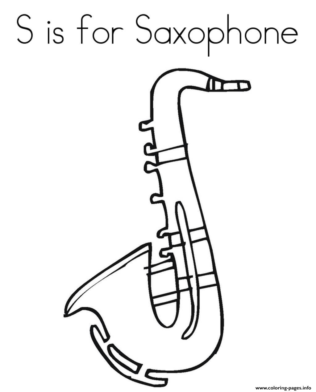 Saxophone Alphabet 688d Coloring Pages Printable