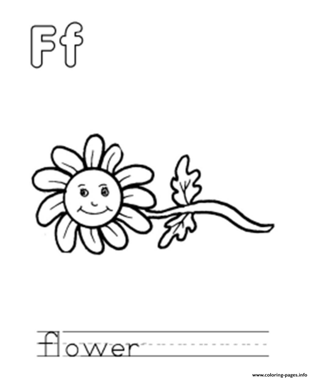 Flower Is F Alphabet S Free85a2 Coloring Pages Printable