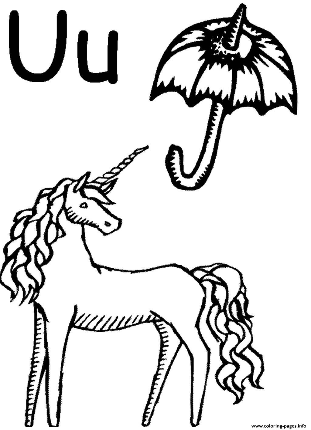 Unicorn And Umbrella Alphabet S Free Coloring Pages Printable