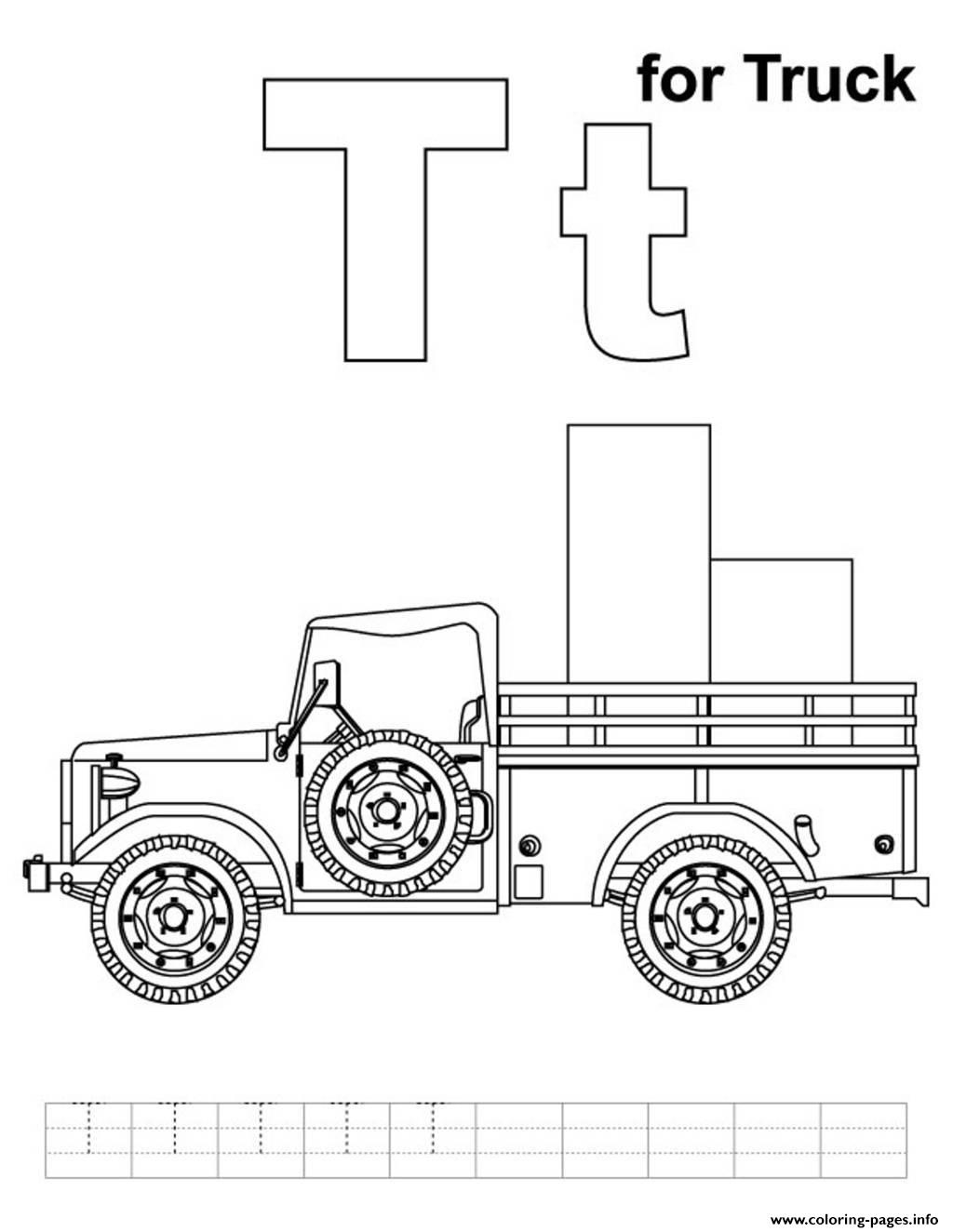 Alphabet T For Truck4b31 Coloring Pages Printable