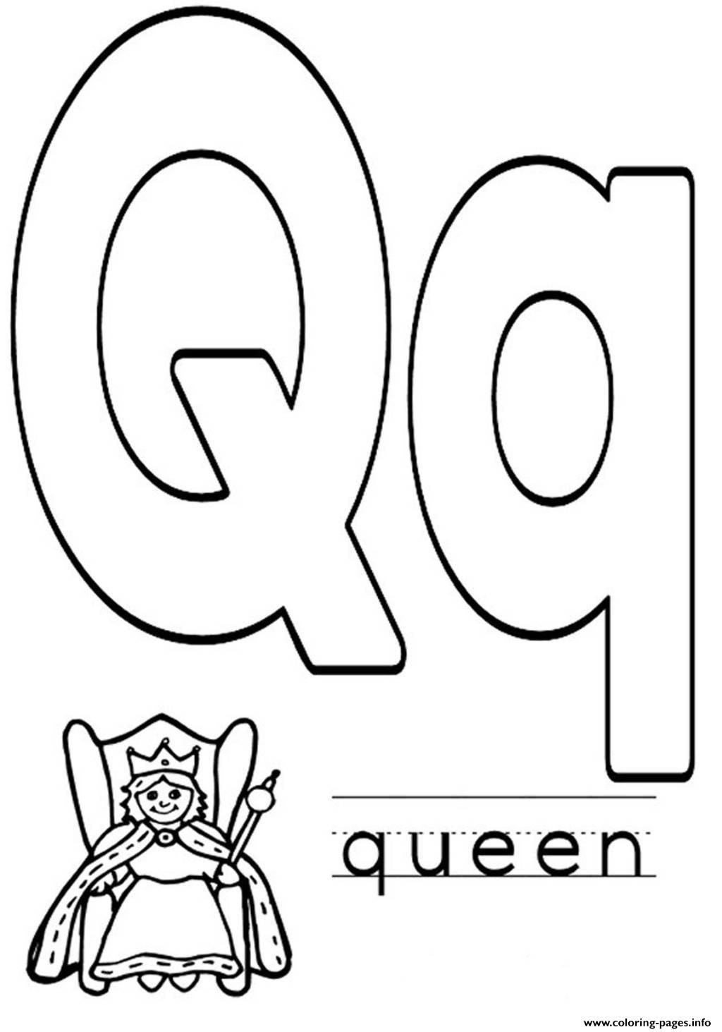 Alphabet S Q For Queen Coloring Pages Printable