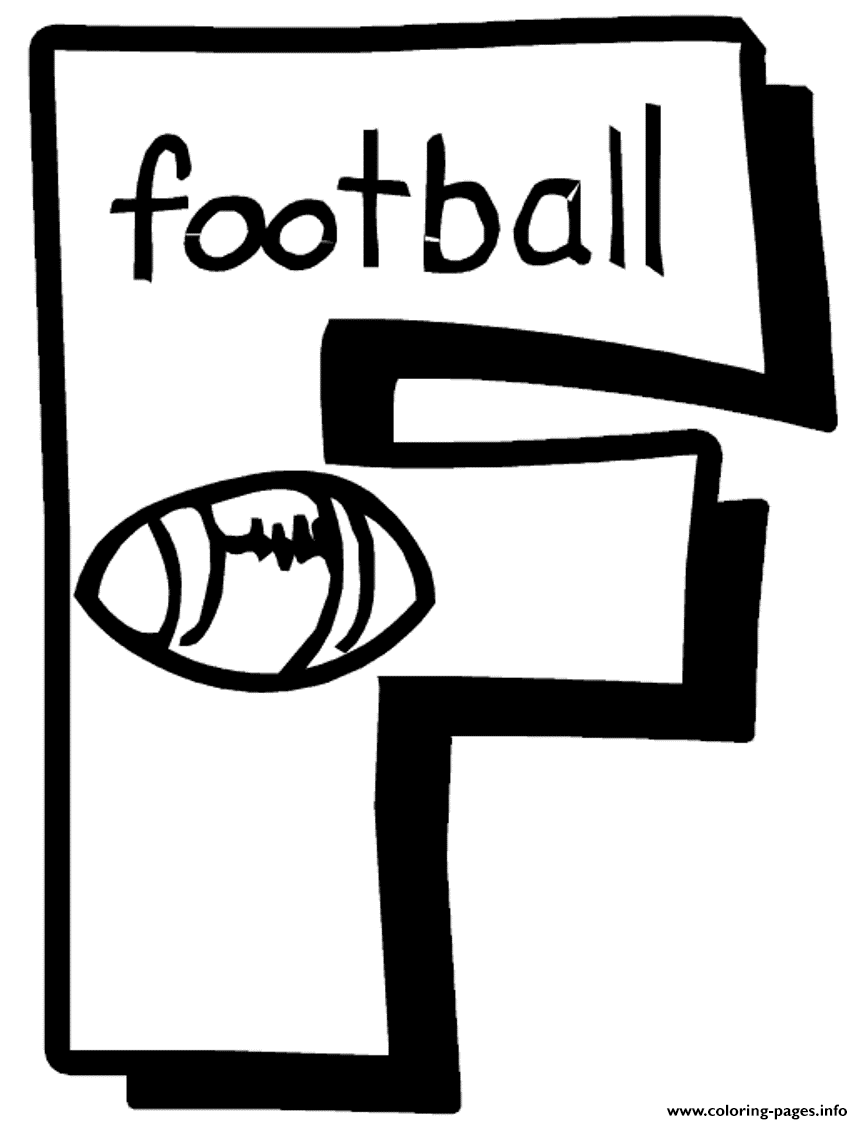 Letter F Football Free Alphabet Sce02 Coloring Pages Printable