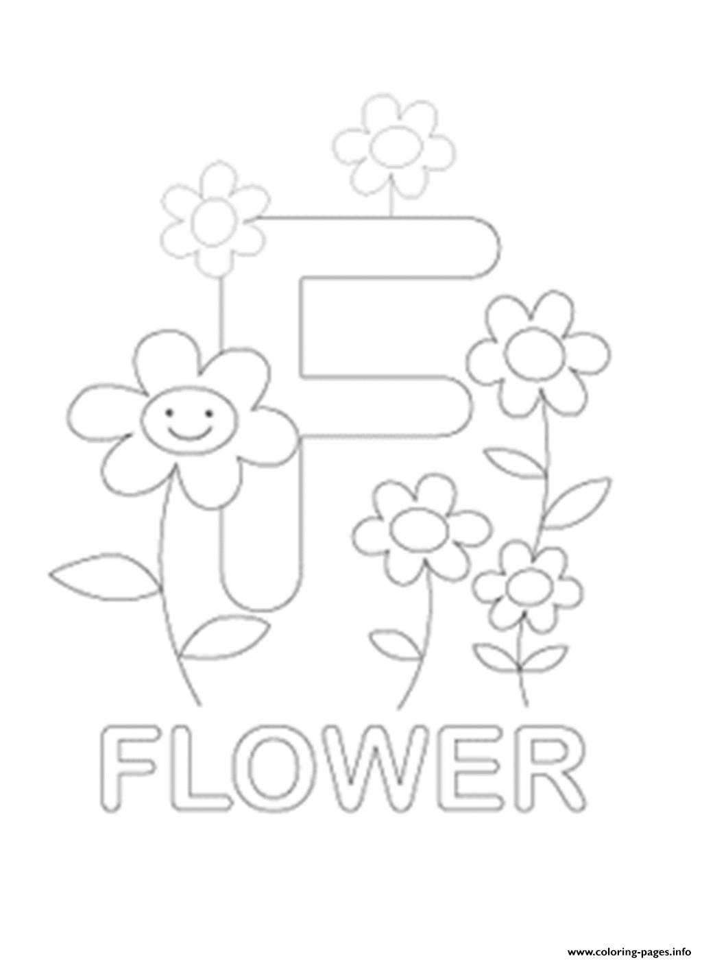 F For Flower Free Alphabet S599e Coloring Pages Printable