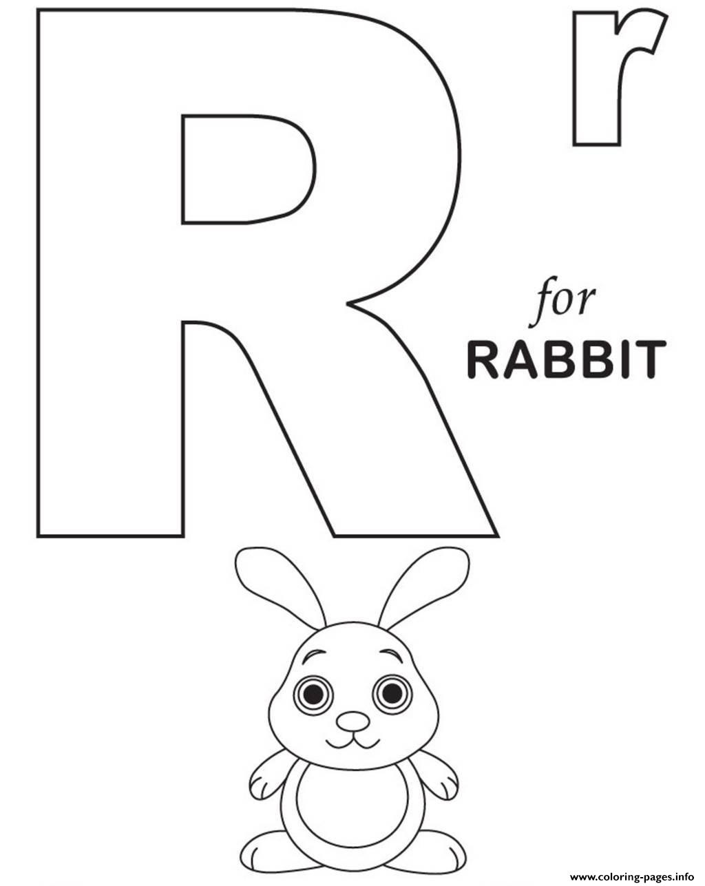 R For Rabbit Free Alphabet Sf2b8 Coloring Pages Printable