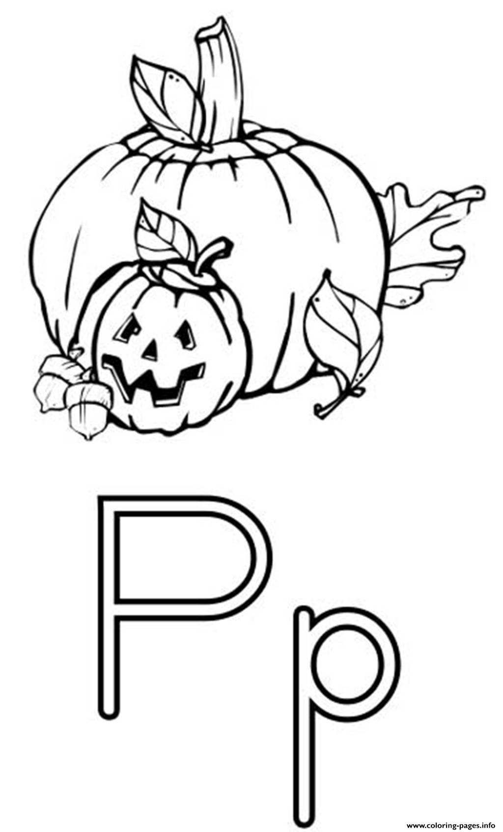 Pumpkin Free Alphabet S13b1 Coloring Pages Printable