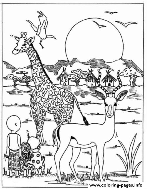 Giraffe In Africa Park Animal Sb81b Coloring Pages Printable