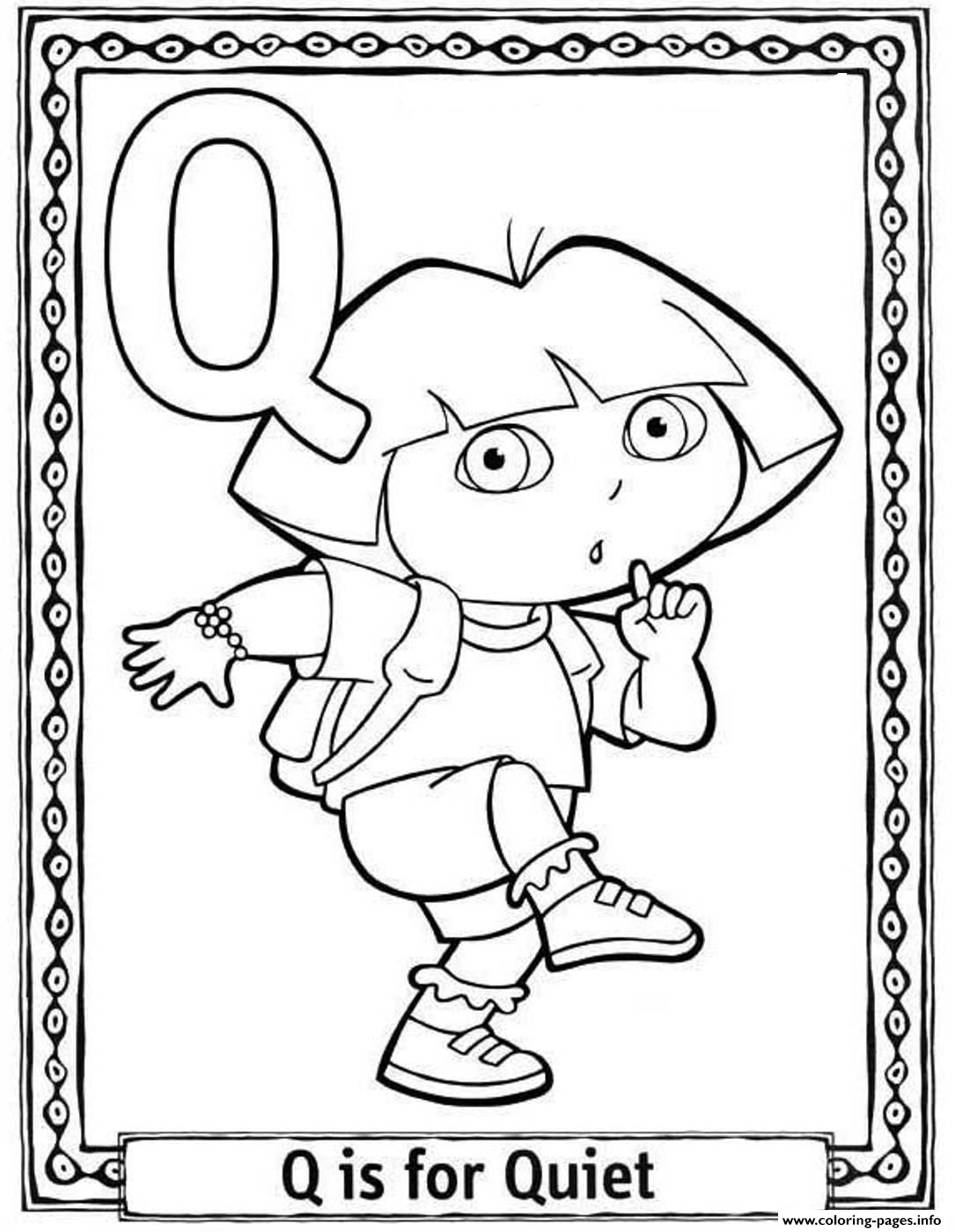 Dora Quiet Alphabet S Coloring Pages Printable