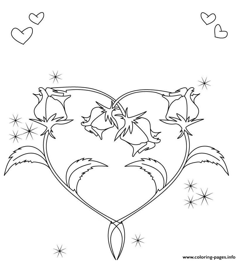 New Kids Coloring Book Pages For Of Hearts With Roses