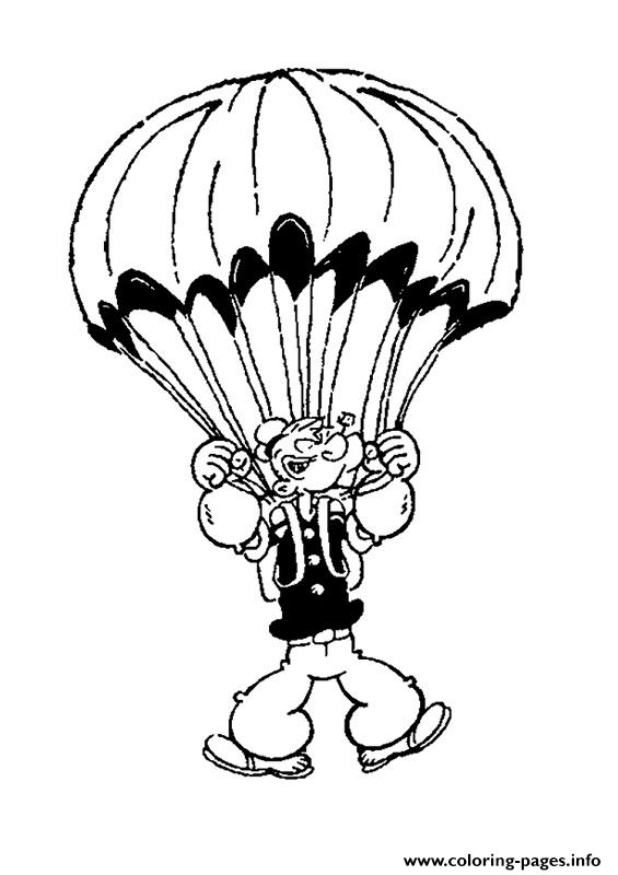 Popeye Flying With Parachute 473f Coloring Pages Printable