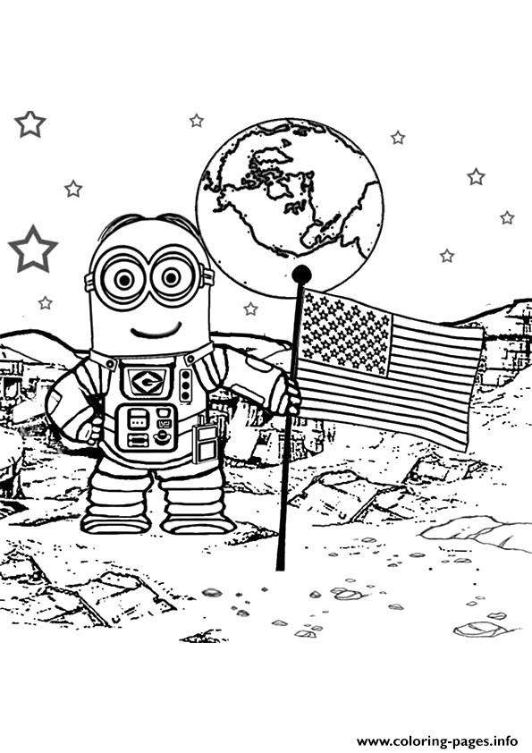 Walking On The Moon Astronaut A4 Coloring Pages Printable