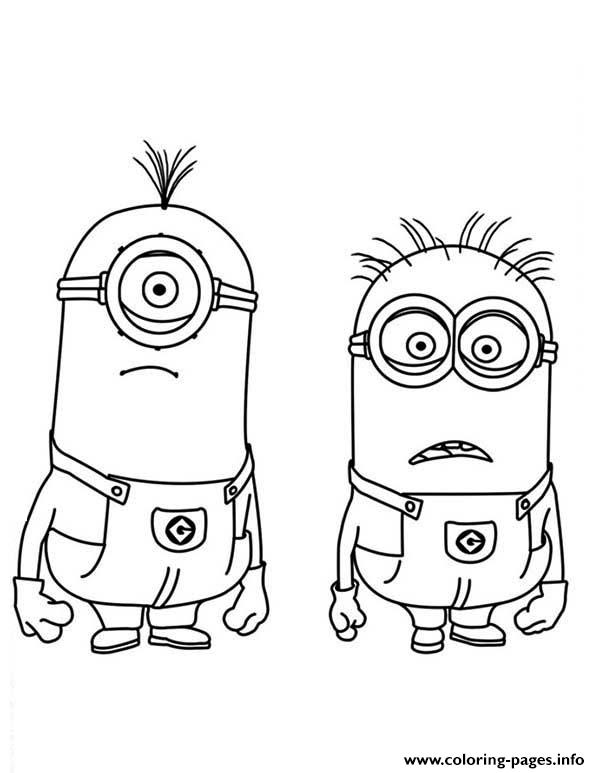 Stuart And Jerry Is Shocked The Minion Coloring Page Coloring Pages Printable