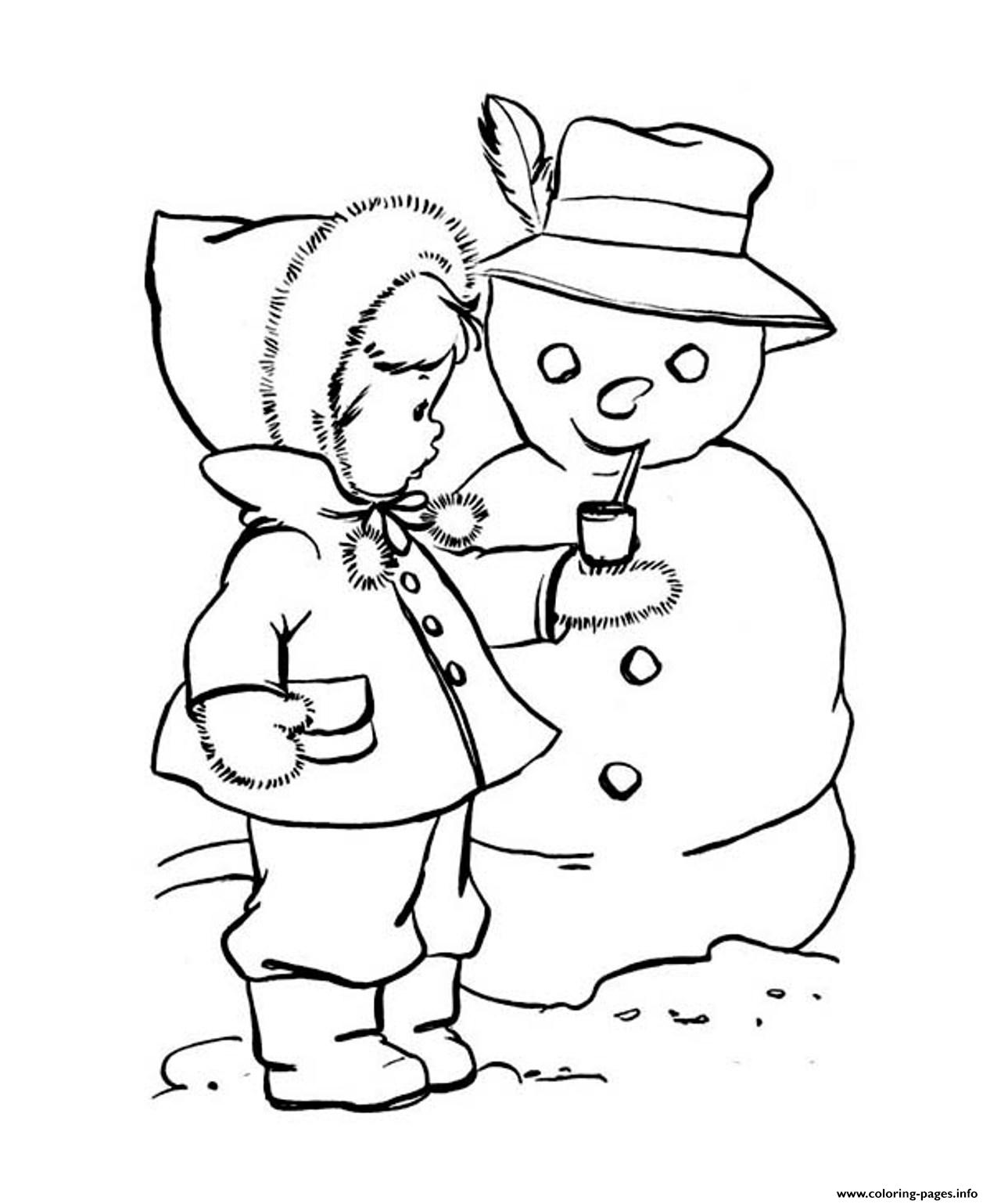 Coloring Pages Winter Cute Kid Putting A Pipe On