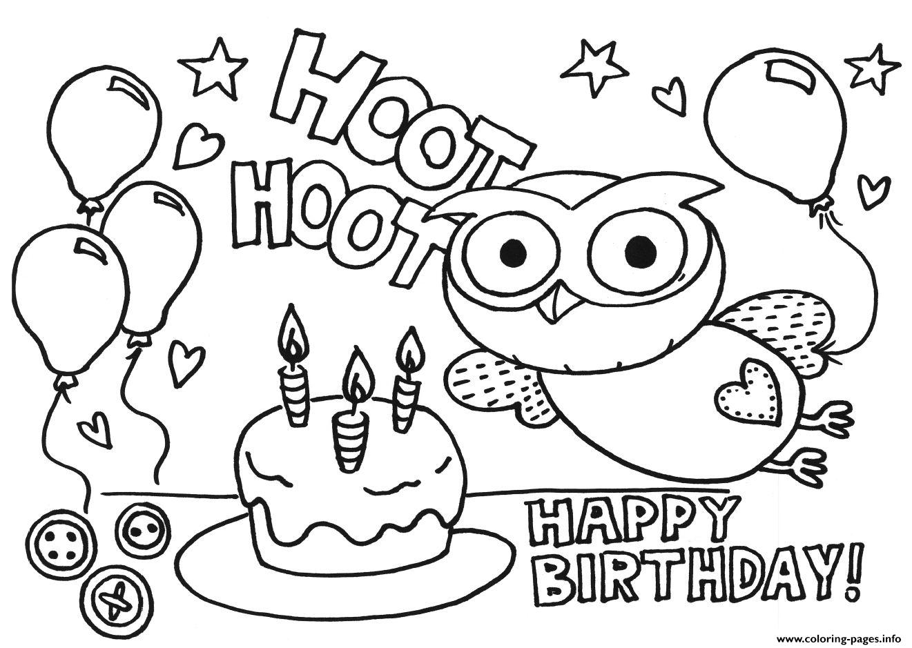 Happy Birthday Gigle Hoot Hoot09bc Coloring Pages Printable