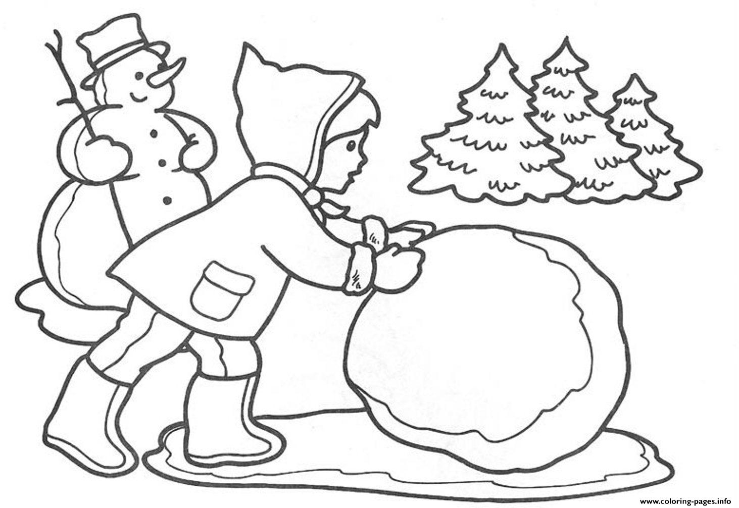 Making Snowball Winter S For Kids4ec1 Coloring Pages Printable
