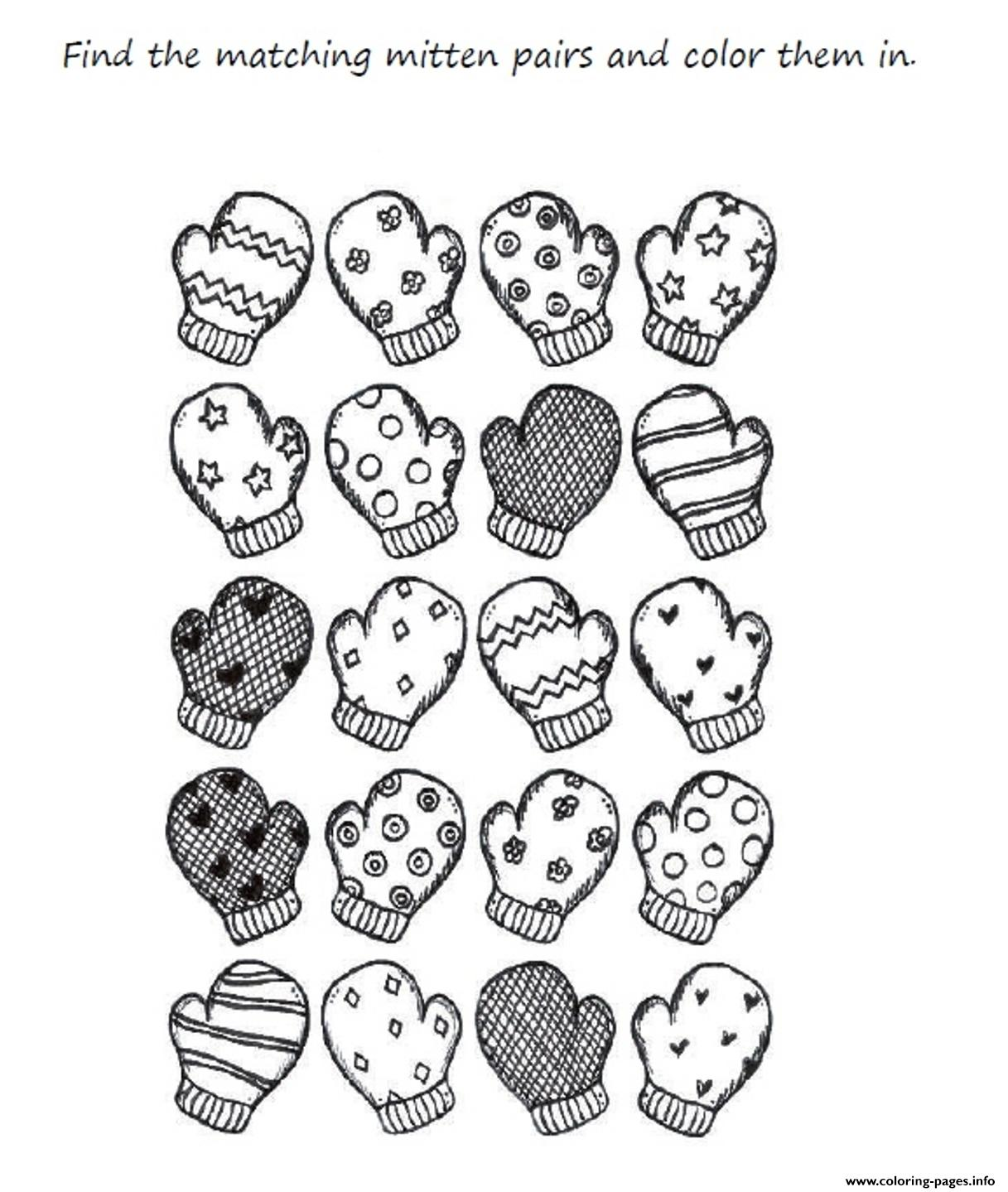 Preschool Mitten Winter S Printable459e Coloring Pages