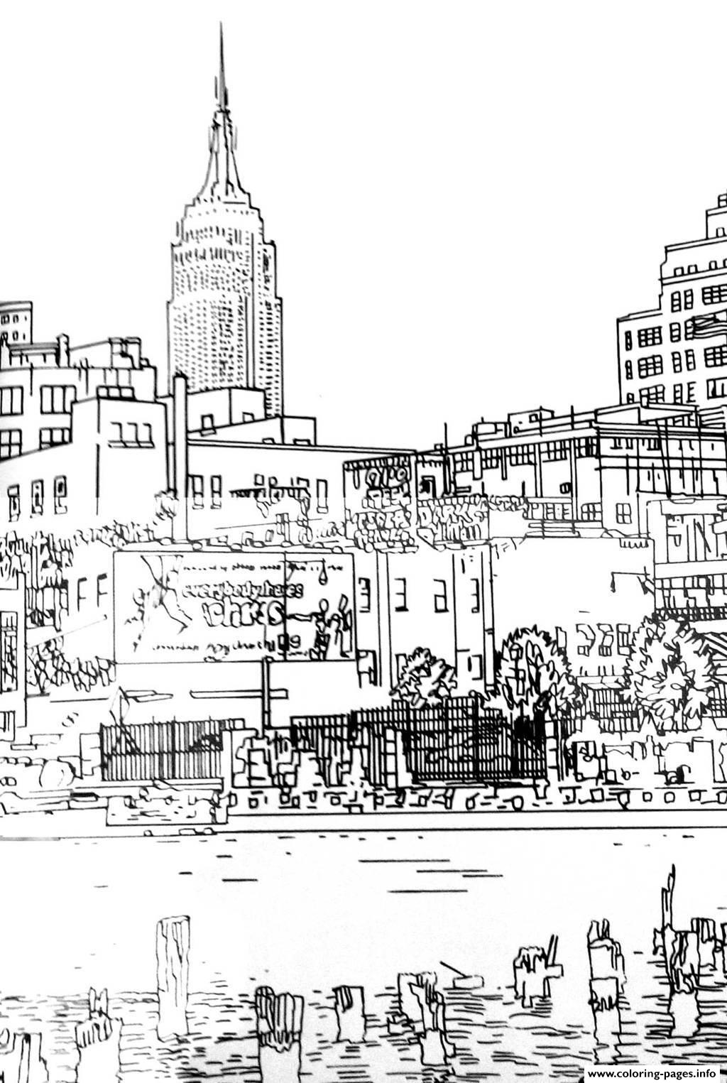 City Adult Drawing New York Coloring Pages Printable