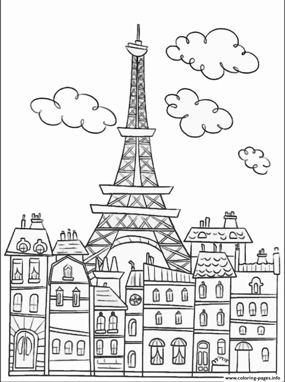 City Adult Paris Buildings And Eiffel Tower Coloring Pages Printable