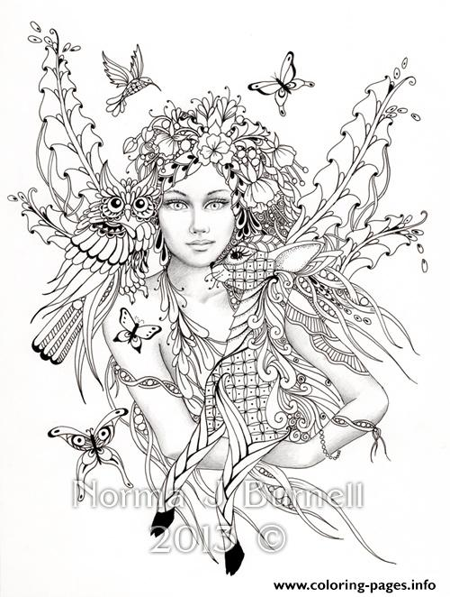 Difficult Fairies With Bird Nature Flowers Coloring Pages