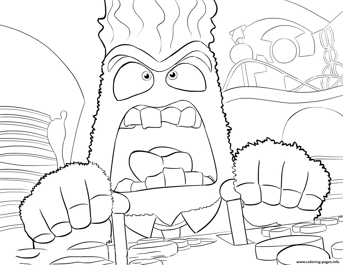 Anger Inside Out Coloring Pages Printable