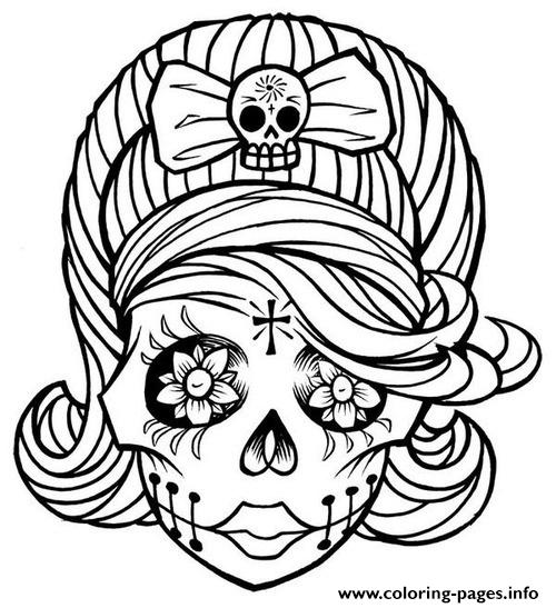 Easy Drawing Of Skulls Coloring How To Draw A Girly Skull