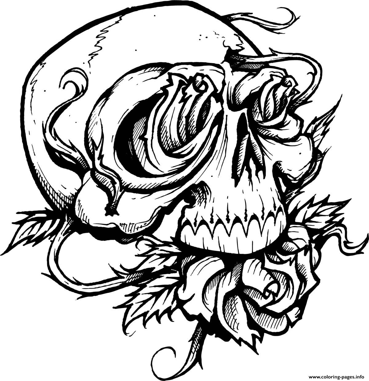 Sugar Skull With Roses Coloring Pages Printable