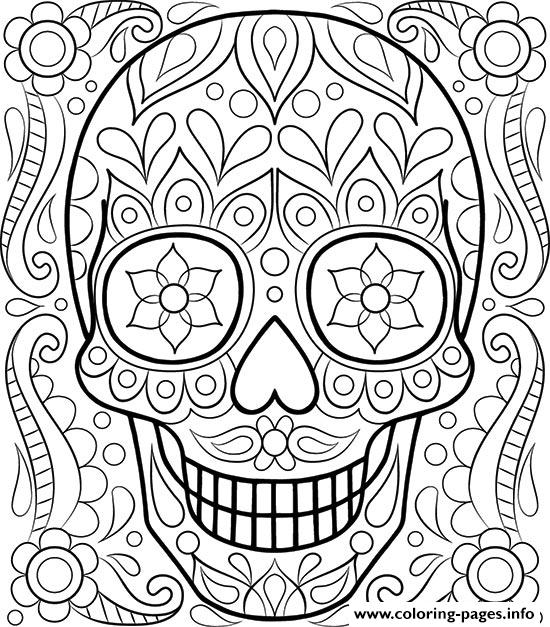 Sugar Skull Day Of The Dead Coloring Pages Printable