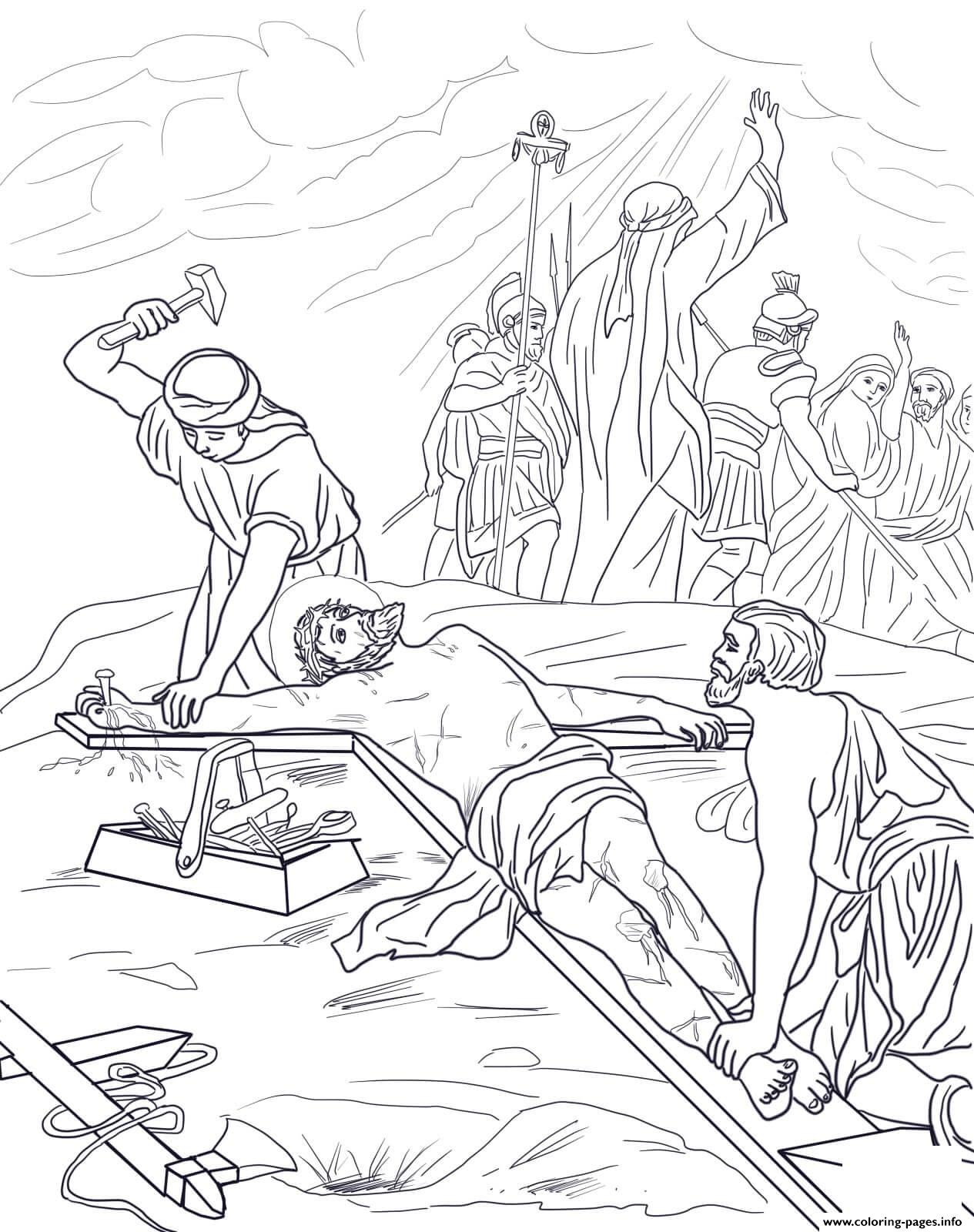 Good Friday 11 Eleventh Station Jesus Is Nailed To The Cross Coloring Pages Printable