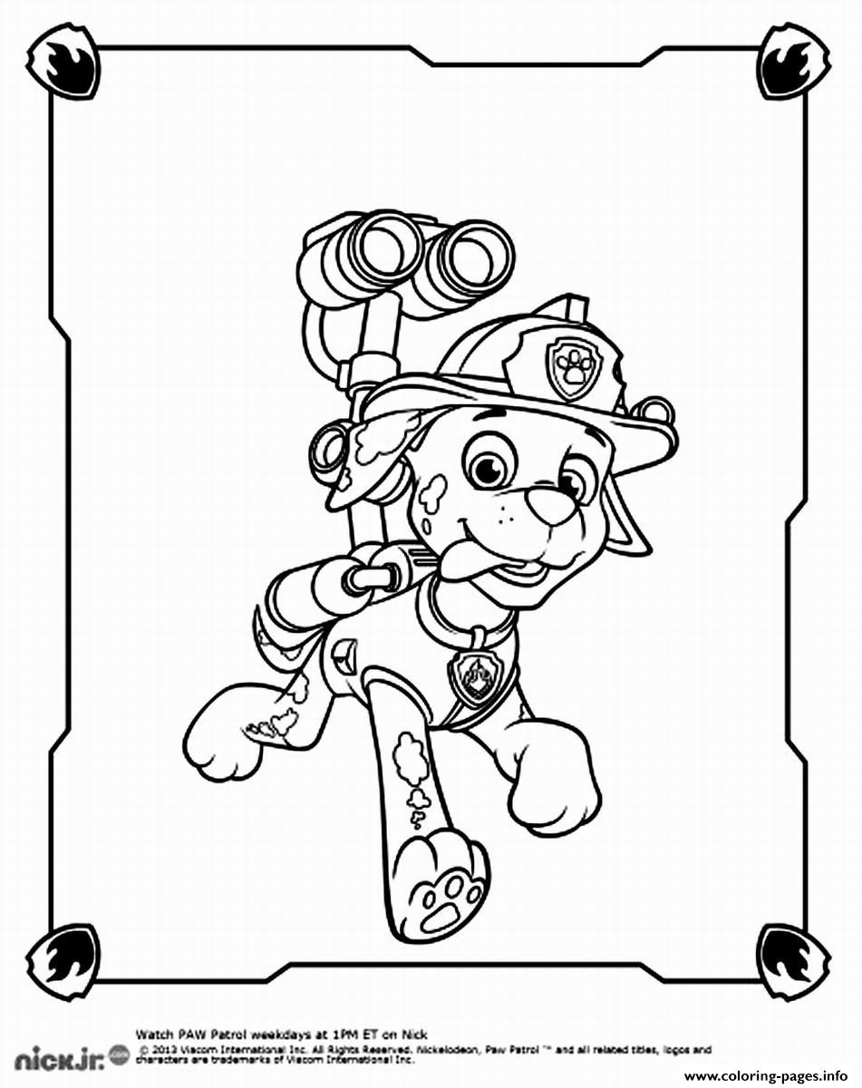 Paw Patrol Marshall Spy Coloring Pages Printable