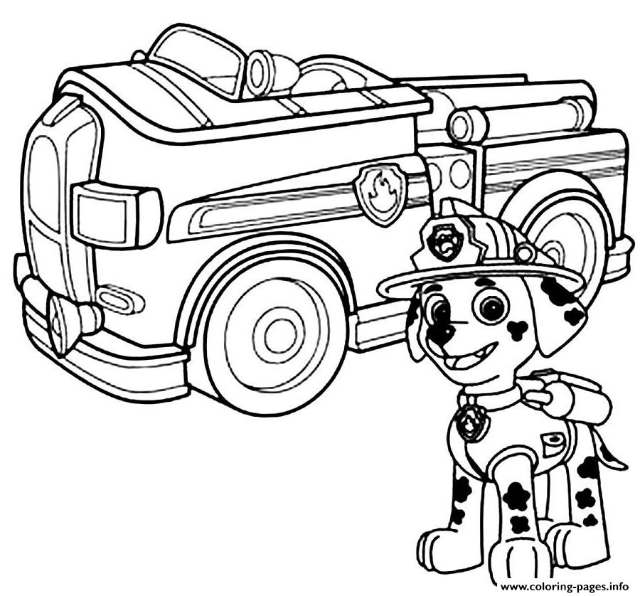Paw Patrol Marshal Firefighter Truck Coloring Pages Printable