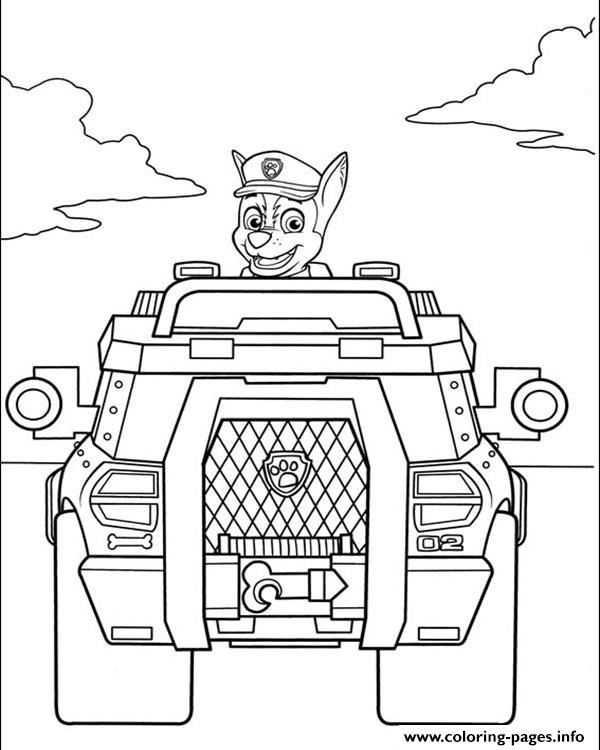 Large Paw Patrol Chase Coloring Pages Printable Coloring Pages