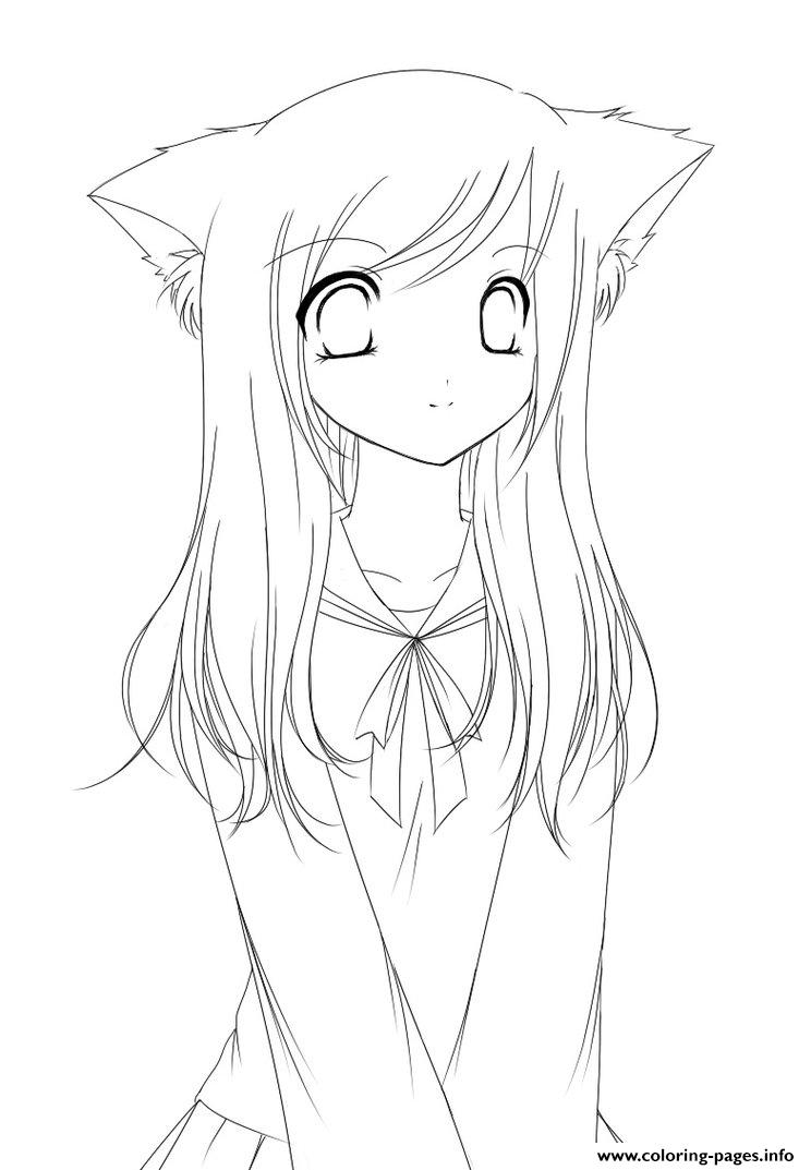 Cat Anime Girl S To Printc769 Coloring Pages Printable