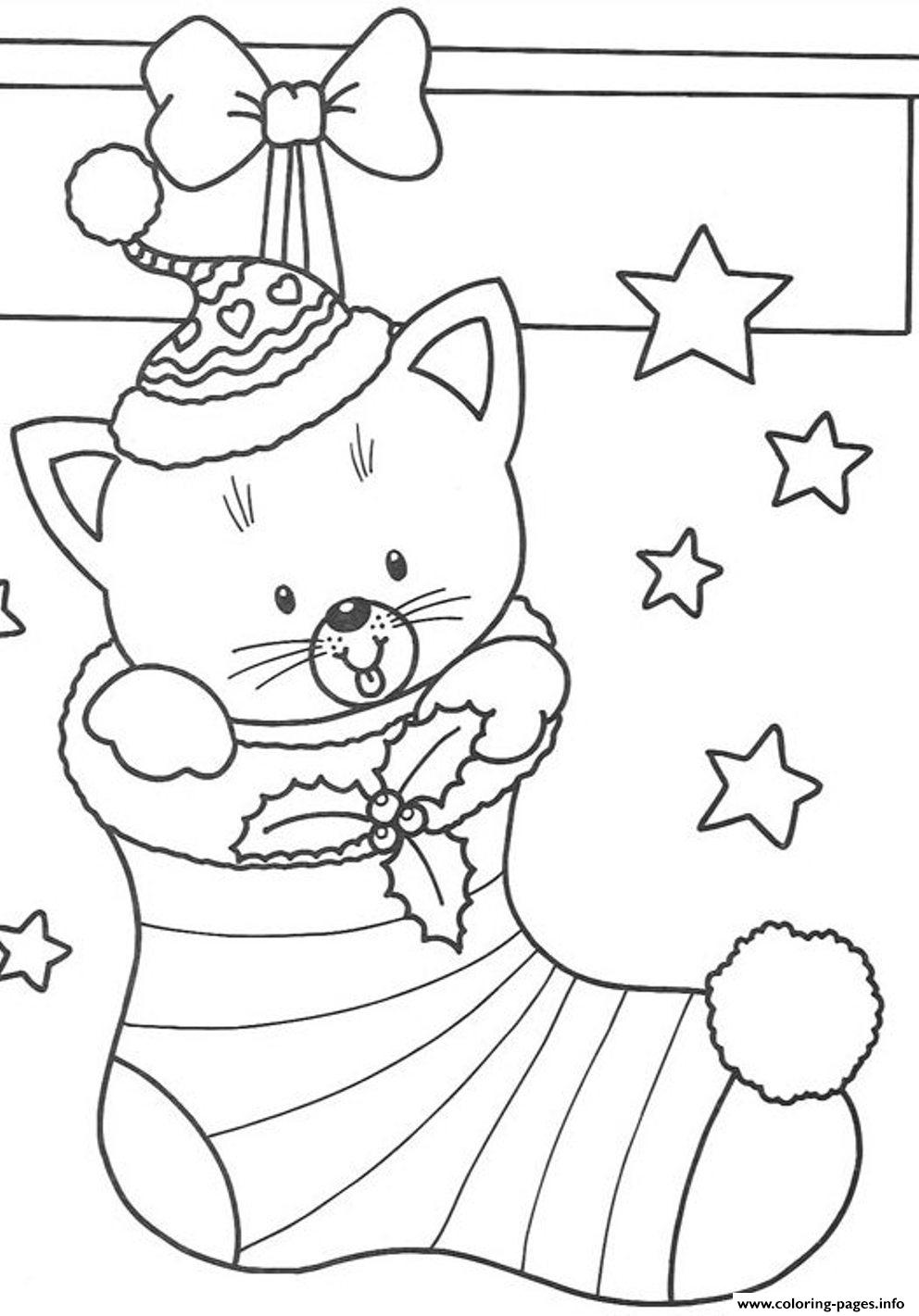 Free S Christmas Cat In Stocking8a58 Coloring Pages Printable