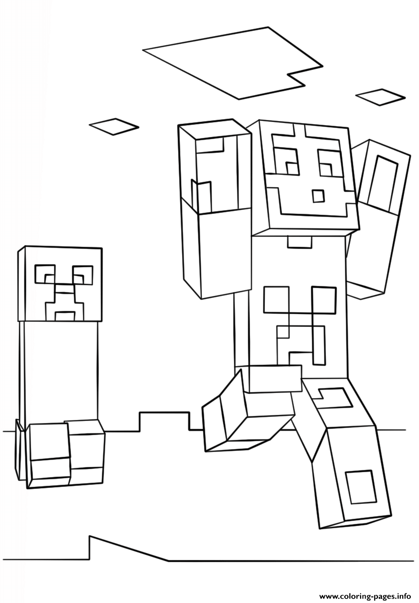 Minecraft Steve And Creeper Coloring Pages Printable