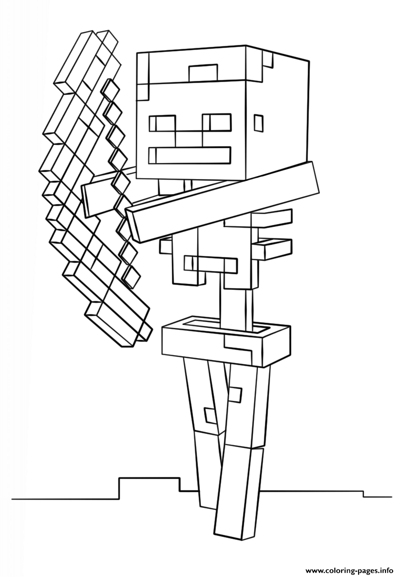 Minecraft Skeleton With Bow Coloring Pages Printable