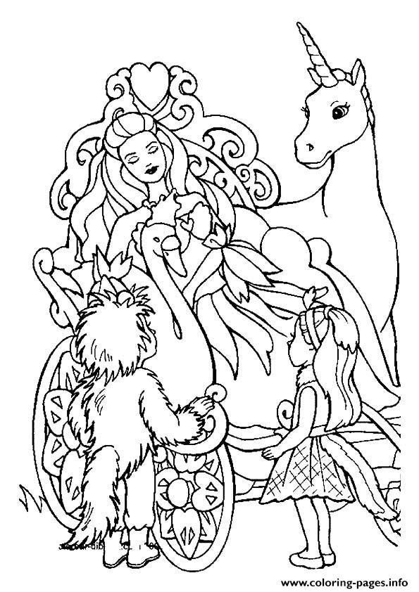 The Barbie And The Unicorn Princess Coloring Pages Printable