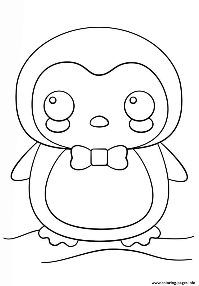 Kawaii Pinguin Coloring Pages Printable