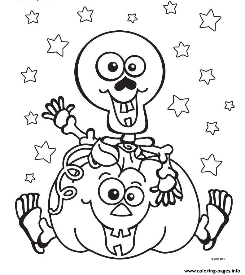 Halloween Skeleton Pumpkin Coloring Pages Printable