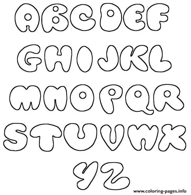 Bubble Letters Az Simple Coloring Pages Printable