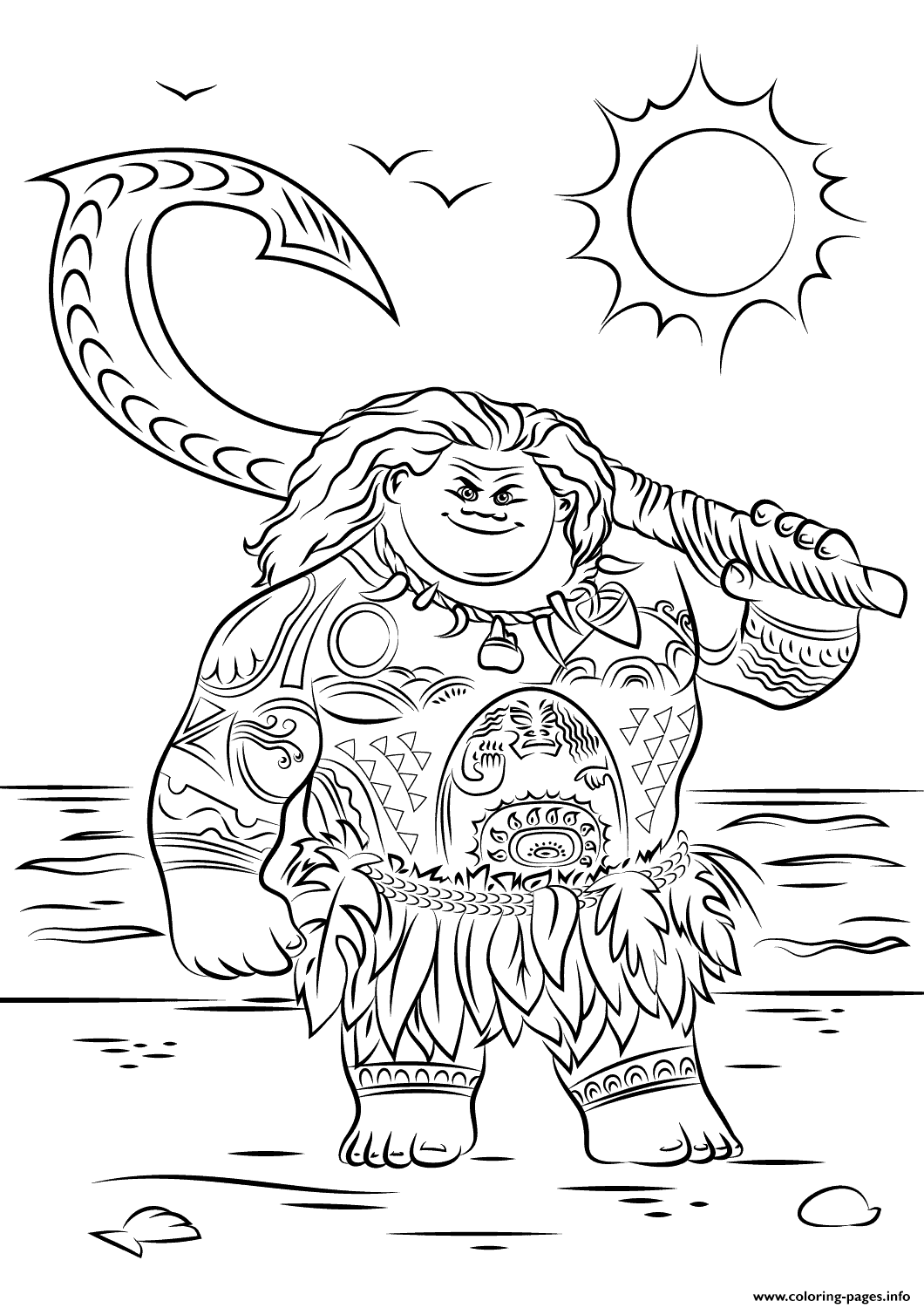 Maui From Moana Disney Coloring Pages Printable