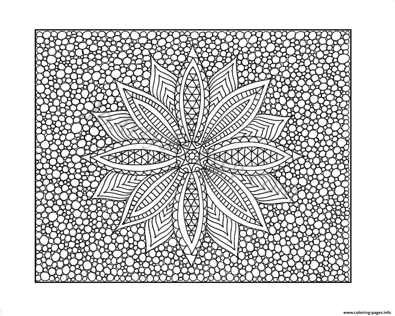 Free Printable Flower Difficult Adult Color Coloring Pages Printable