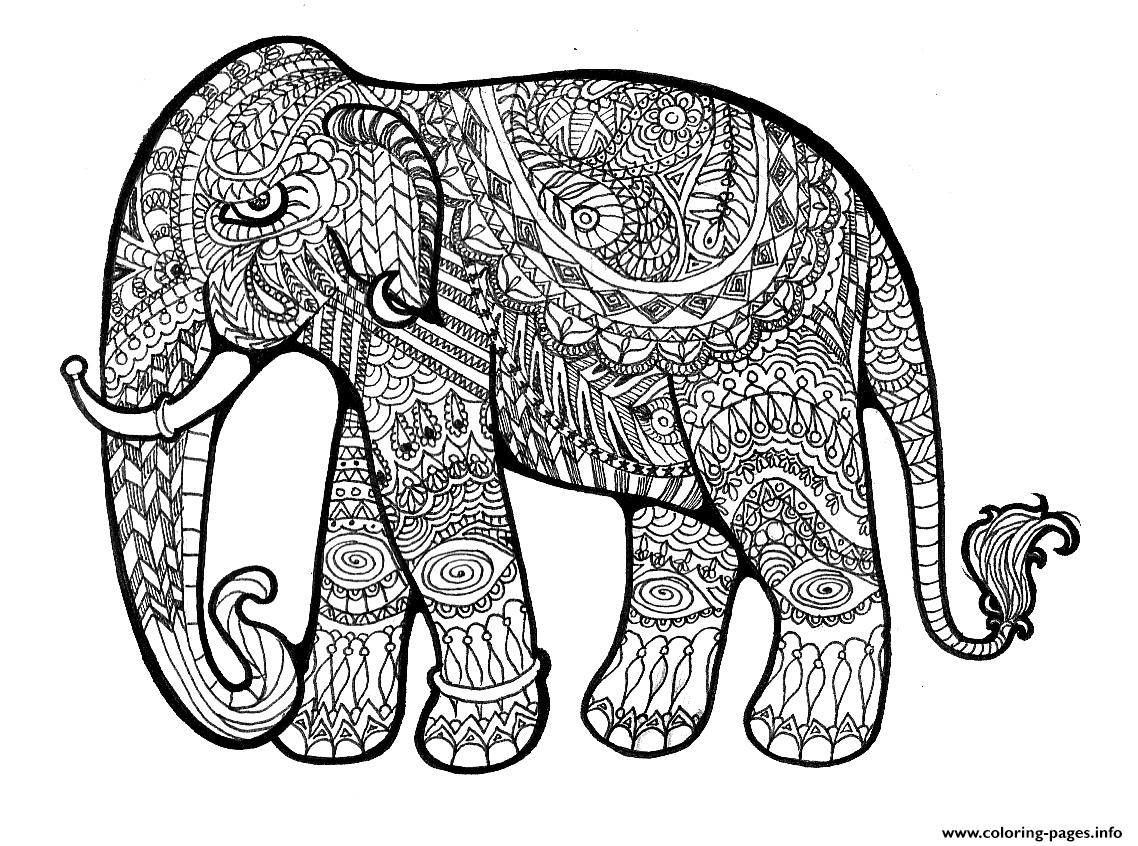 Elephant Plex For Adults Print Out Hard Coloring Pages Printable