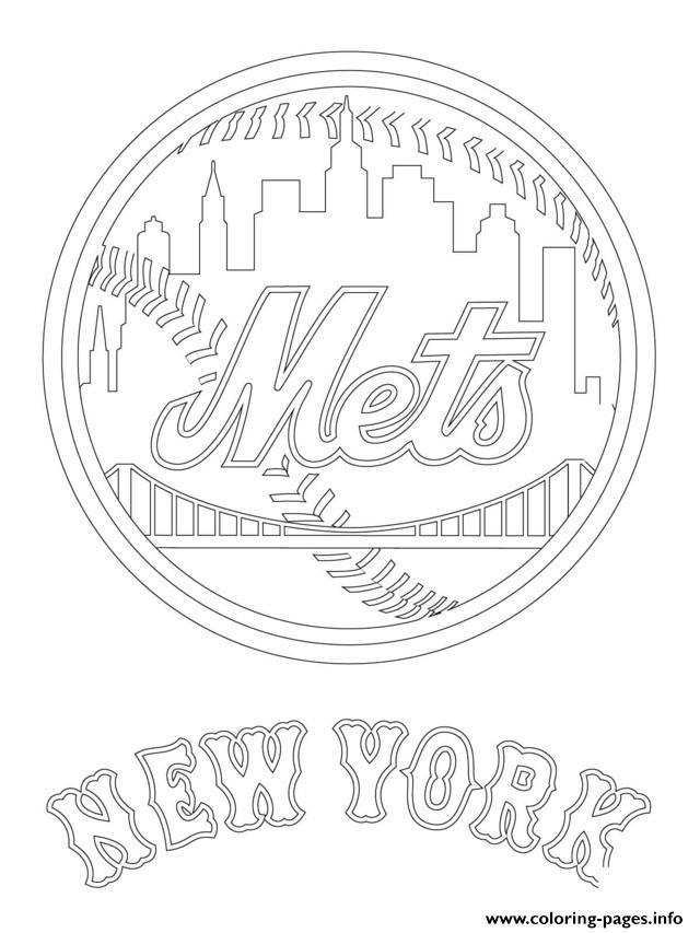 New York Mets Logo Mlb Baseball Sport Coloring Pages Printable
