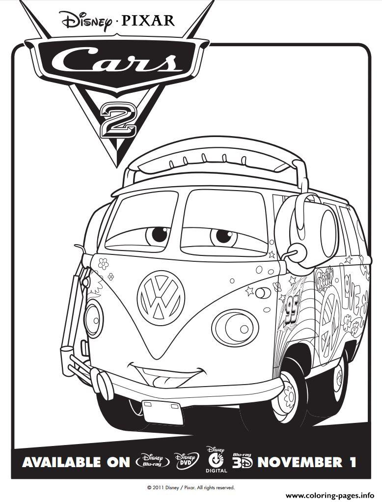 Disney Cars 2 Fillmore Coloring Pages Printable   free printable disney cars 2 coloring pages