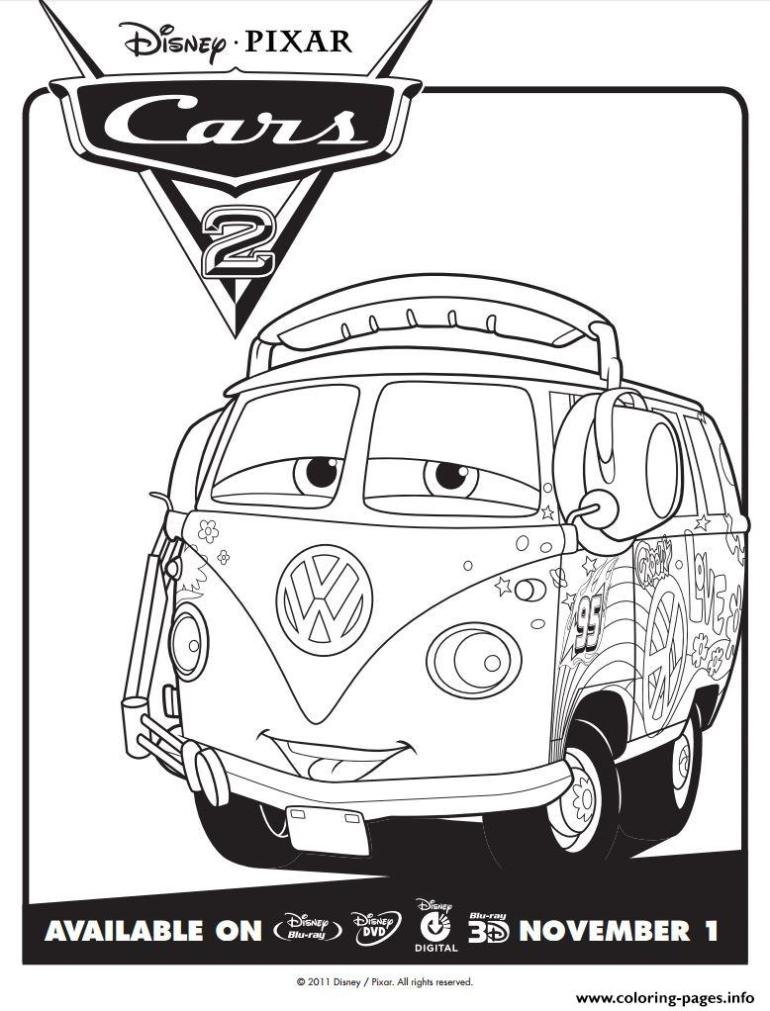 Disney Cars 2 Fillmore Coloring Pages Printable | free printable disney cars 2 coloring pages