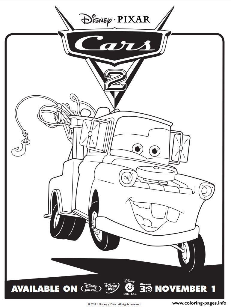 Disney Cars 2 Mater Coloring Pages Printable   free printable disney cars 2 coloring pages