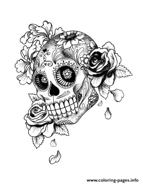 Adult Halloween Sugar Skull Coloring Pages Printable