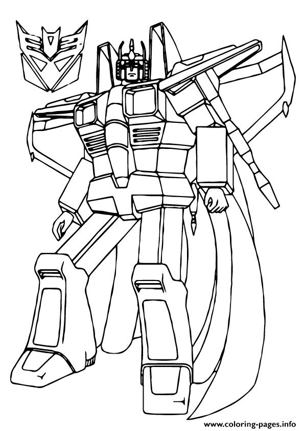 Transformers Star Scream A4 Coloring Pages Printable