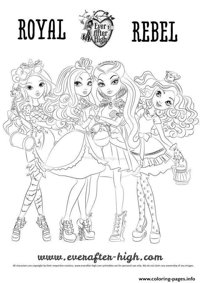 Ever After High Raoyal Rebel Coloring Pages Printable
