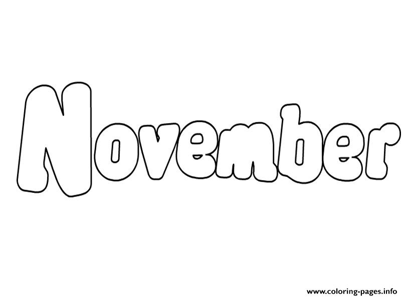 November Bubble Text Coloring Pages Printable