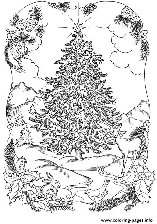 Adults Christmas Tree In Nature Coloring Pages Printable